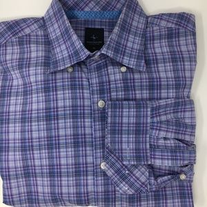 Tailorbyrd purple blue plaid long sleeve shirt XL